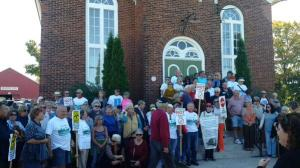 A few of the 300 people who gathered in MIlford last fall to protest wind power development in  Prince Edward County